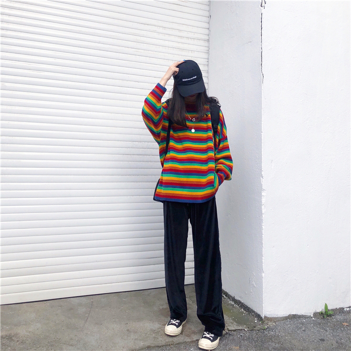 Female Korean Harajuku Hong Kong-flavored Loose Striped Sweater Women's Sweaters Japanese Kawaii Ulzzang Clothing For Women 13