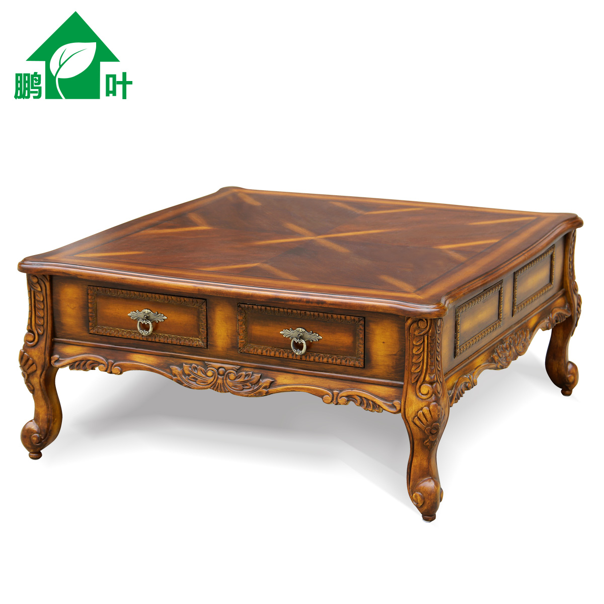 Picture of: Pengye Furniture American Country Tea Table Large Square Coffee Table European Solid Wood Tea Table Four Drawers Living Room Coffee Table