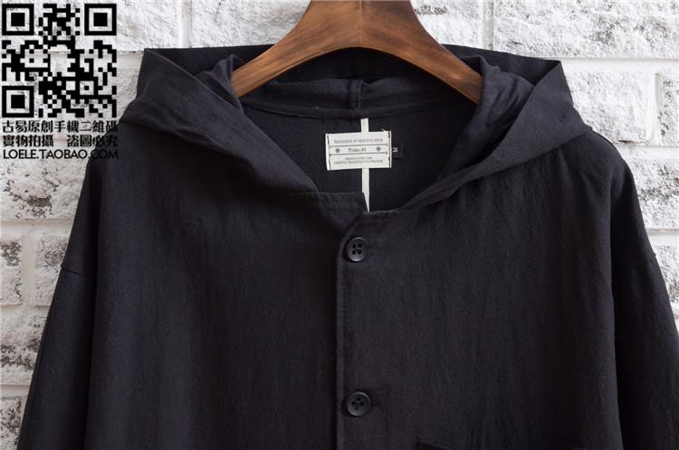 Người đàn ông mới của trùm đầu bông và vải lanh dài áo gió Nhật Bản retro lỏng linen Sen Trung Quốc phong cách cổ áo