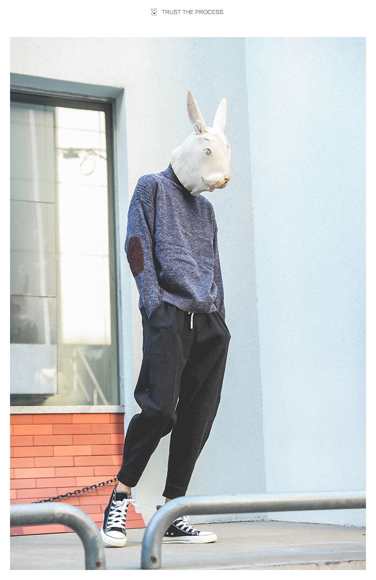 LMTNZD mùa xuân và mùa hè cao cổ của nam giới vá màu phù hợp với Hàn Quốc retro casual loose trùm đầu áo len thủy triều