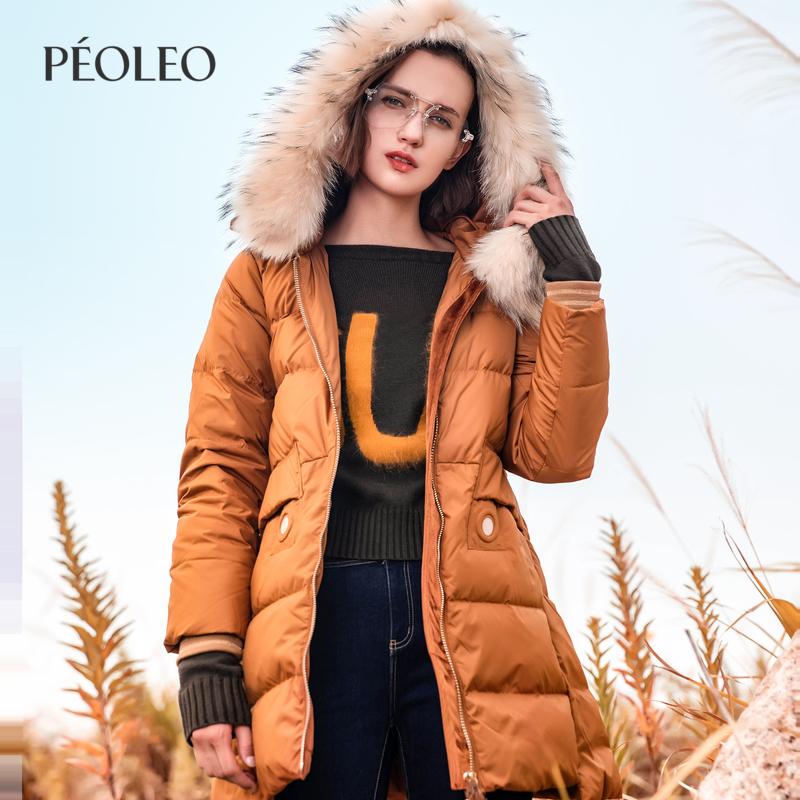 Peoleo飄蕾2018冬裝新款中長款大毛領羽絨服女時尚連帽保暖外套潮
