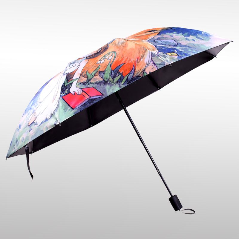 【羚羊早安】防紫外线遮阳伞三折防晒