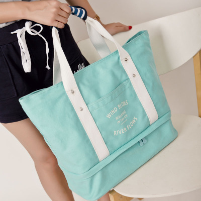 Water blue canvas bag