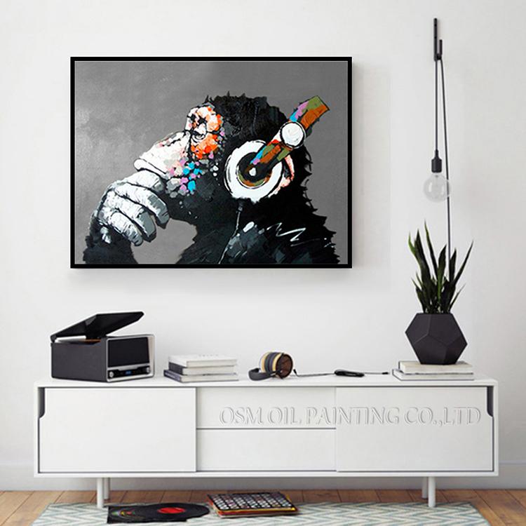 字畫 裝飾畫油畫 歐式 日系手繪油畫現代簡約客廳掛畫斑馬大猩猩北歐抽象裝飾畫動物壁畫掛畫