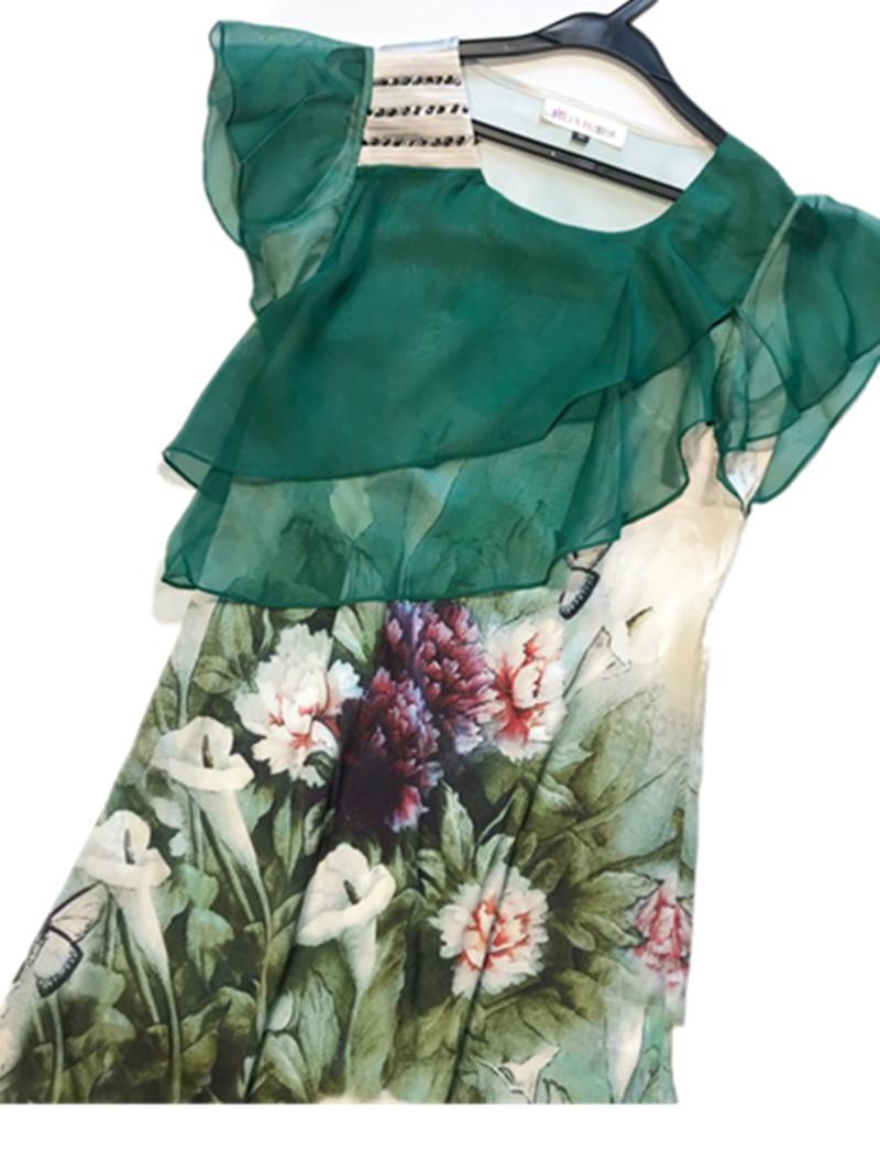 特价包邮弹力夏季真丝女士缎飞飞袖连衣裙中长款显瘦修身桑蚕丝