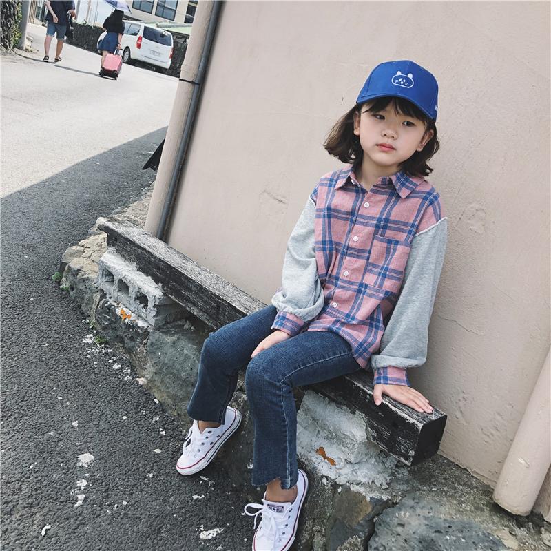女童卫衣袖格子衬衣2018秋新款韩版儿童拼接翻领衬衫中大童假两件