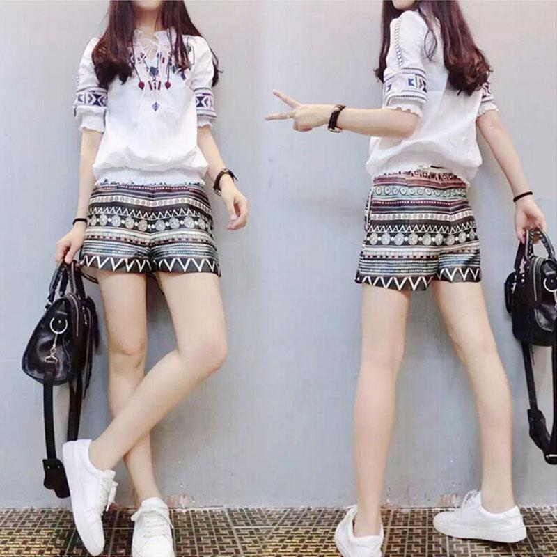 2017夏装新款女装休闲刺绣两件套显瘦欧洲站阔腿短裤套装女气质潮