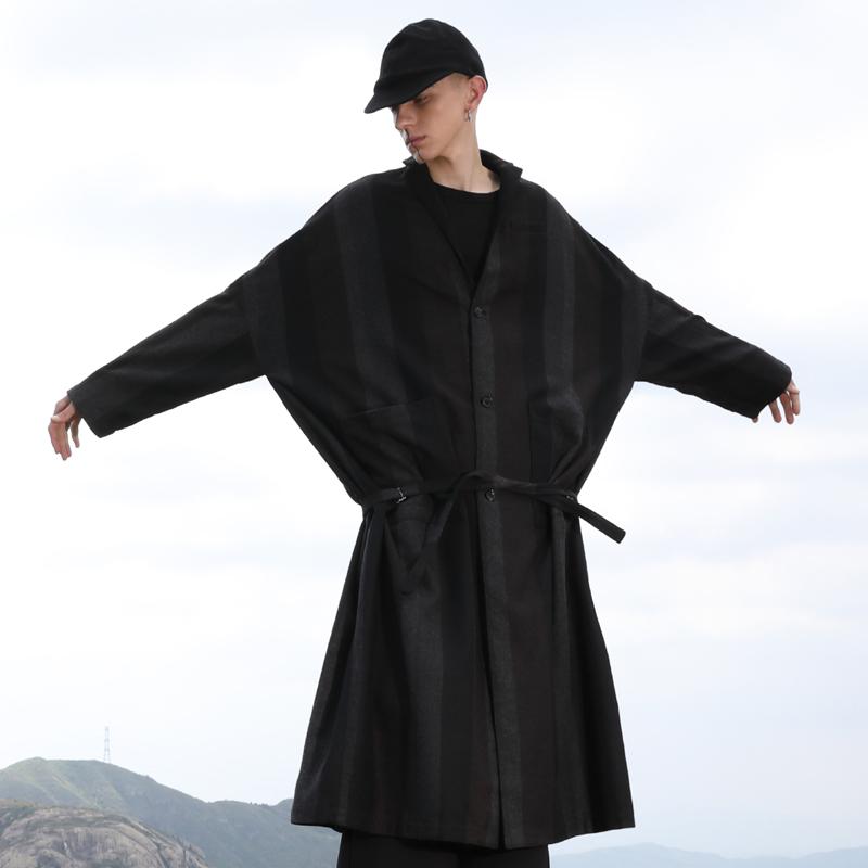 设计师品牌2020春复古宽松廓形条纹羊毛过膝加长款大衣男毛呢外套