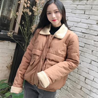 Small jacket women's winter short paragraph loose thin lamb wool soft sister student bread clothes cotton coat