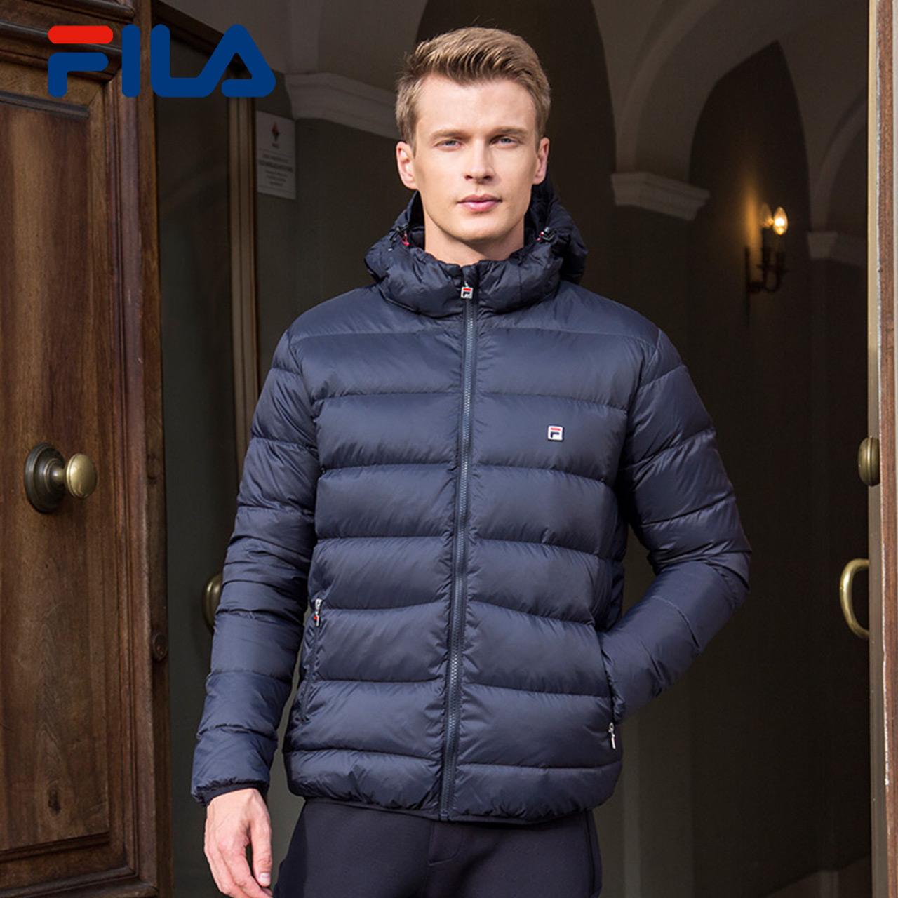 fe57e4692299 FILA Fei Le 2017 Winter new men s down jacket windproof warm hooded  detachable sports Down Jacket Men