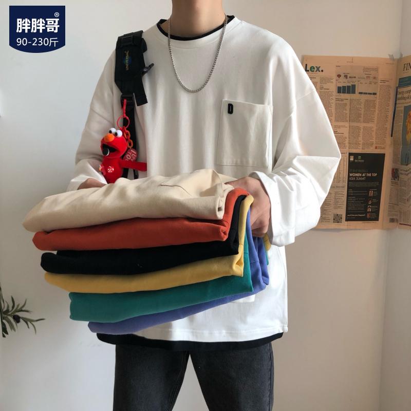 胖胖哥长袖T恤秋季白色圆领体恤情侣款宽松大码上衣韩版潮流男装