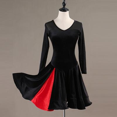 Latin Dance Dresses Women's Performance Spandex Georgette Appliques Crystals / Rhinestones Long Sleeves High Dress