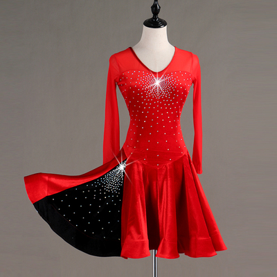 Latin Dance Dresses Latin Dance Competition Dresses / Rhinestones High Dress