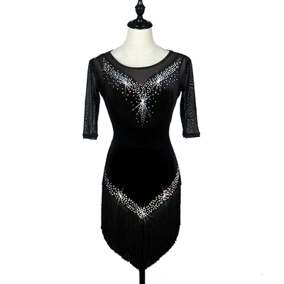 Latin Dance Dresses Women's Training / Performance Spandex / Tulle Tassel / Crystals / Rhinestones Long Sleeve High Dress