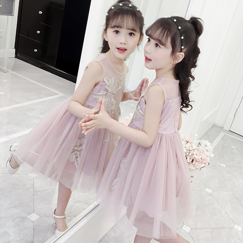 Super Western girls dress summer 2019 New Girl embroidery mesh skirt Pompon children princess dress