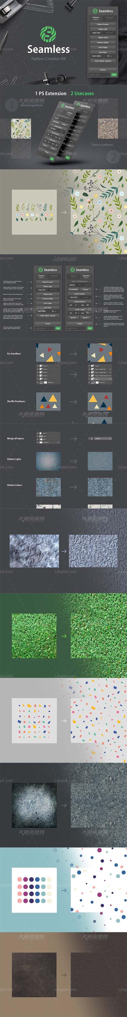 极品PS拓展面板-无缝纹理创作(含图文操作说明):Seamless - Pattern Creation Kit