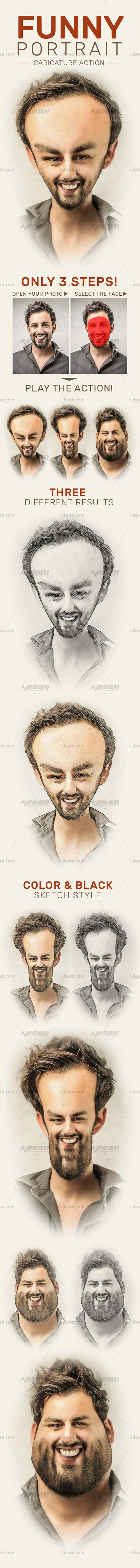 Funny Portrait Caricature Action,极品PS动作-滑稽画象(含PDF图文教程)
