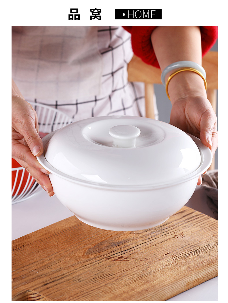 Jingdezhen ceramic big bowl of soup basin household contracted with cover of pure taste soup pot large ipads porcelain soup pot of my ears