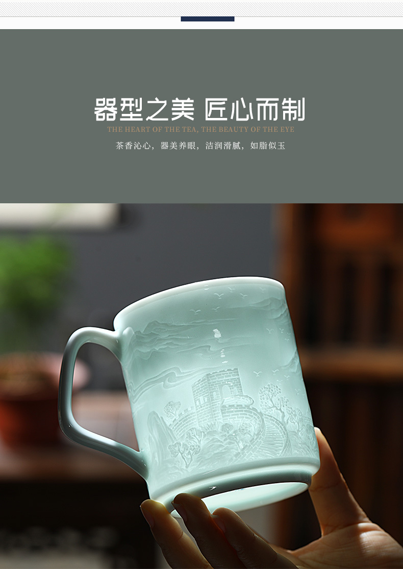 Jingdezhen ceramic cups with cover glass for large capacity water cup men 's office high - grade porcelain cups