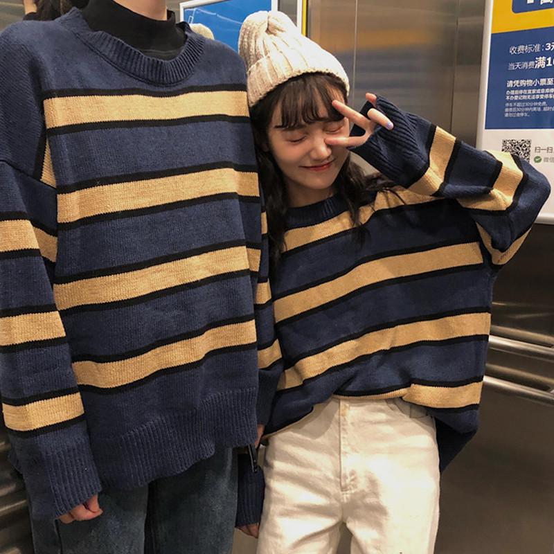 韩国ulzzang原宿风宽松bf复古条纹加厚外穿针织毛衣女韩版潮学生
