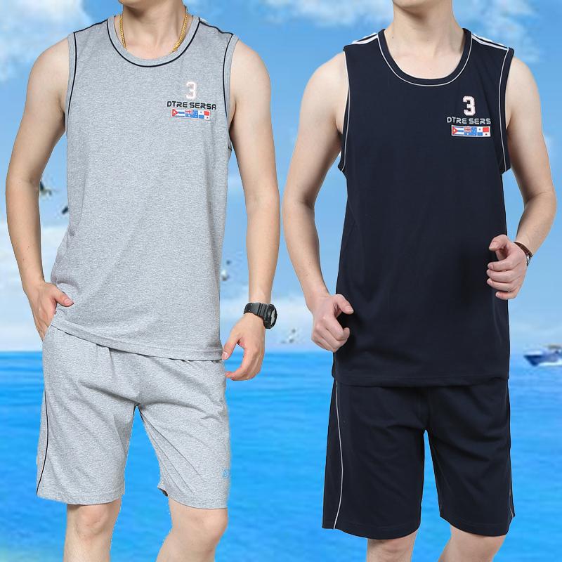 夏季新款男士大码纯棉背心短裤运动服宽松无袖衫跑步休闲运动套装