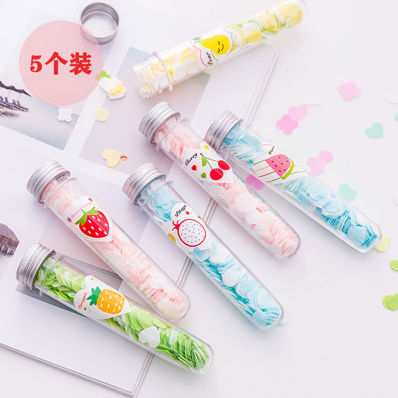 Travel bottled toilet paper test tube flower-type disposable elixir tablets portable outdoor hand washing elixir paper fertilizer tablets