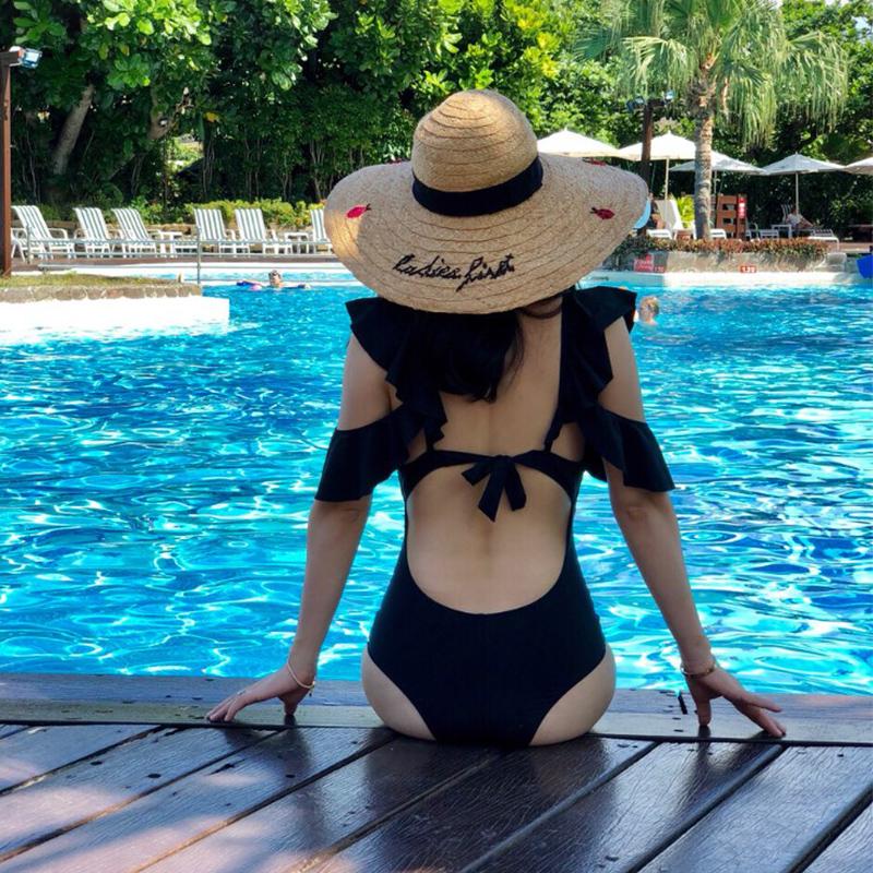 Áo tắm mới hình lá sen của Hàn Quốc nữ bảo thủ in gió một mảnh che bụng thon gợi cảm nước hoa nhỏ mùa xuân nóng bỏng - Bộ đồ bơi One Piece