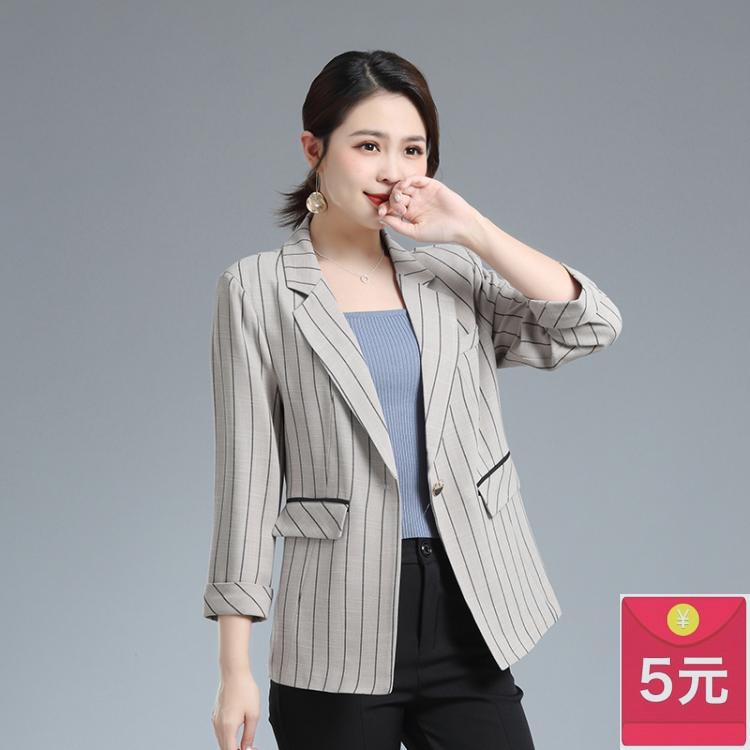 Mùa xuân và mùa hè phụ nữ trung niên phù hợp với sọc dọc phù hợp với quần áo mẹ trung niên và người già độc thân phụ nữ phương Tây áo khoác mỏng - Business Suit