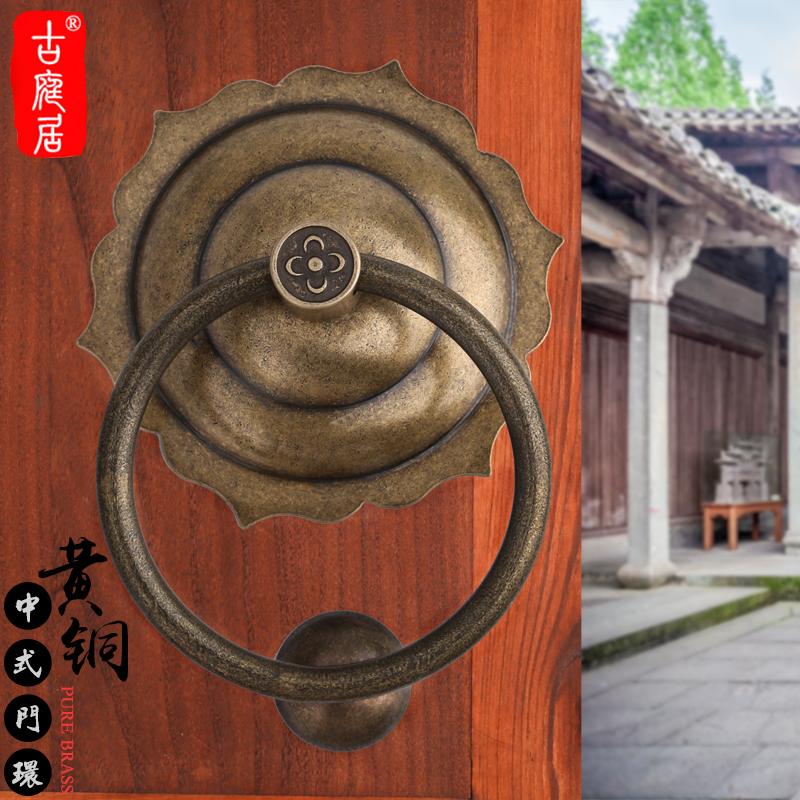 中式门环小拉手敲门明清大门六角把手古铜色木门仿古器花边大单孔