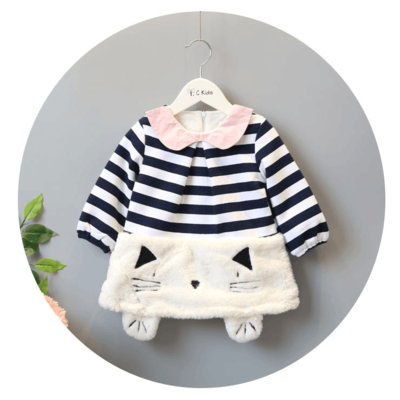 Female baby dress 2017 winter new Korean version of the children's clothing 0-4 years old cute striped baby plus woolen skirt