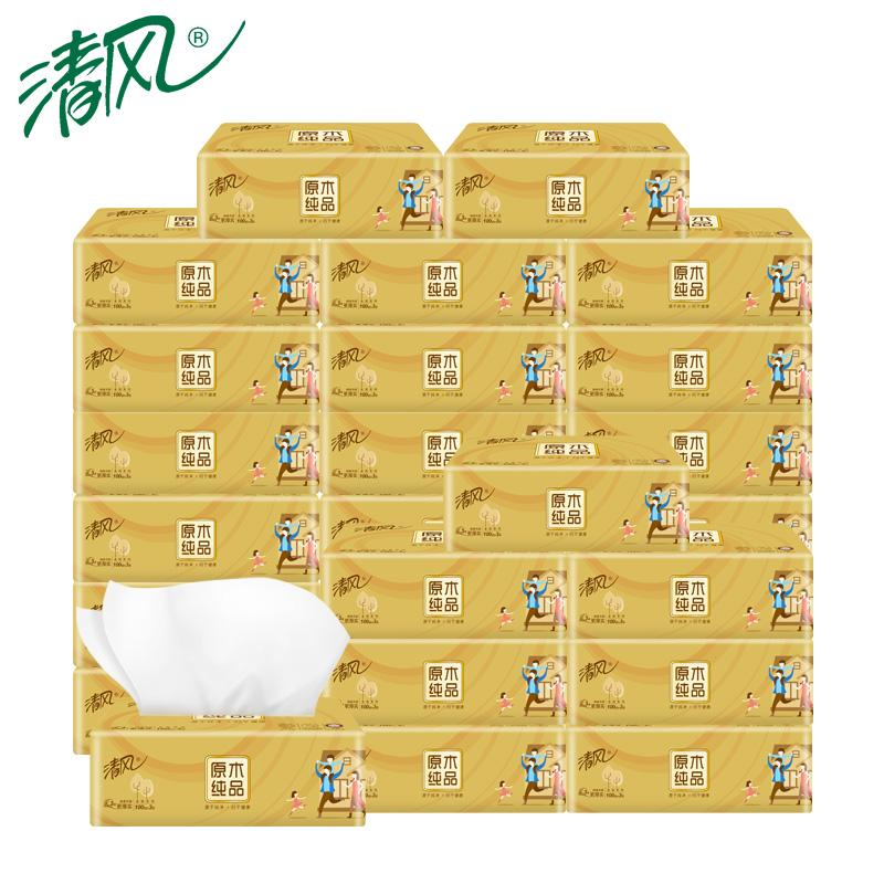 清风金装抽纸餐巾纸3层100抽36包