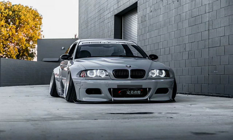 Old Bmw E46 M3 Modified Rocket Bunny Rocket Rabbit Wide Body Surrounded By Round Eyebrow Lip Tail