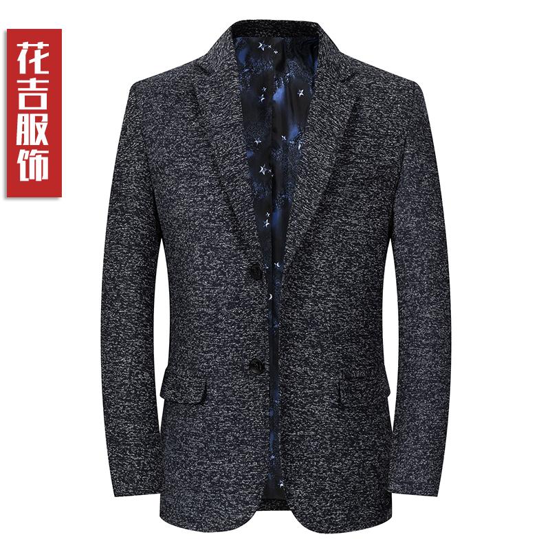 2019西装薄羊毛呢中年外套上衣两粒扣爸爸v西装春装装商务西服男士