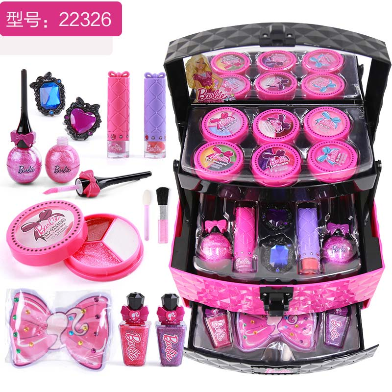 Barbie Childrens Cosmetics Princess Makeup Box Set Environmental 3 6 Years Old Girl Toy Birthday Gift