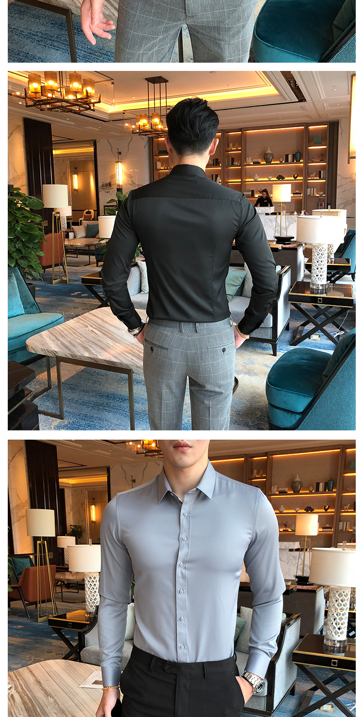 特价英伦绅士韩版修身长袖纯色衬衫C8019/P28红色