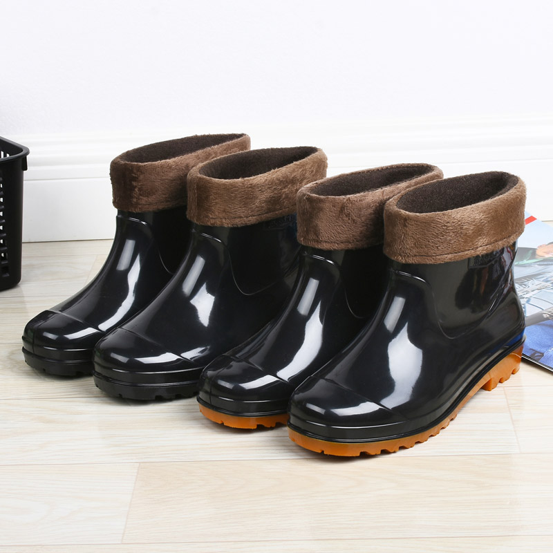 Men's Casual Shoes Spring And Summer Men Short Tube Rain Boots Ankle Rubber Boot Elastic Band Non-slip Waterproof Rainday Water Shoes