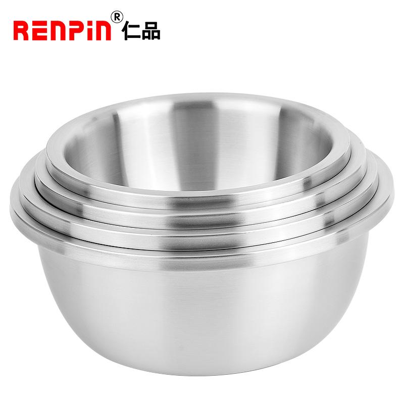 仁品304不锈钢加厚调料盆料理盆搅拌盆家用大汤盆加深打蛋盆烘焙