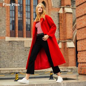Five Plus女冬装毛呢外套中长款过膝单排扣羊毛大衣宽松翻领