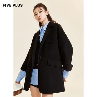 FIVE PLUS2020 new women's winter clothes 100% sheep wool double-sided woolen coat women's mid-length suit with loose collar