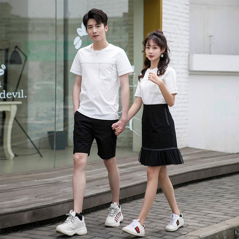 同套装情侣装色系小众2019新款韩版宽松短袖T恤女裙子夏装v套装感