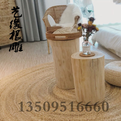 Sweet puff pier solid wood root carving stool round tree pile flower frame base tea table stool shoe stool hot sale