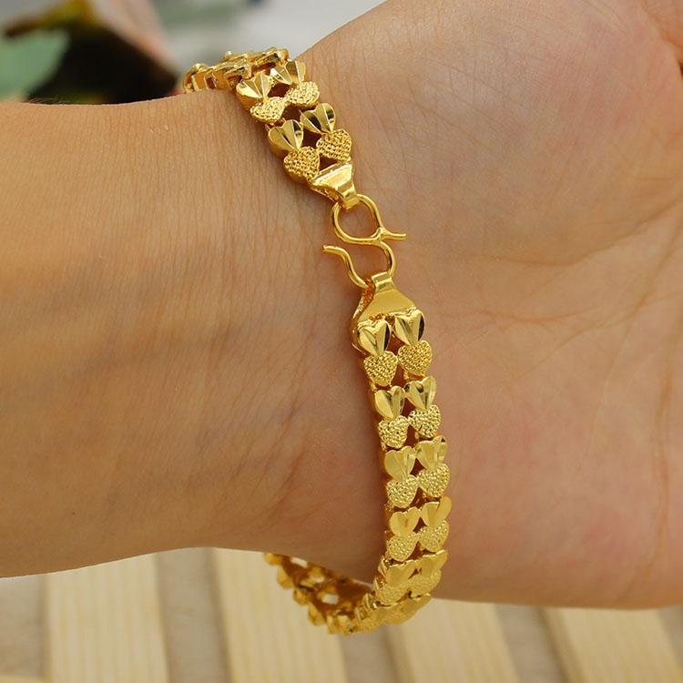 女士女双心越南手链情侣黄铜欧币黄金皇冠24k镀金仿手链首饰沙金