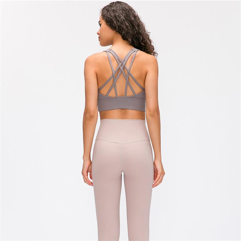 Lulu ban đầu mùa xuân mới chống sốc tập hợp áo ngực yoga rập khuôn hem mở rộng chạy đồ lót thể thao nữ - Đồ lót thể thao