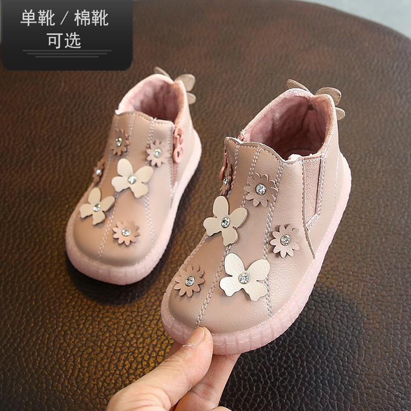 女女童宝宝靴子韩版加绒短靴婴儿皮鞋秋冬学步公主a女童花朵棉靴潮