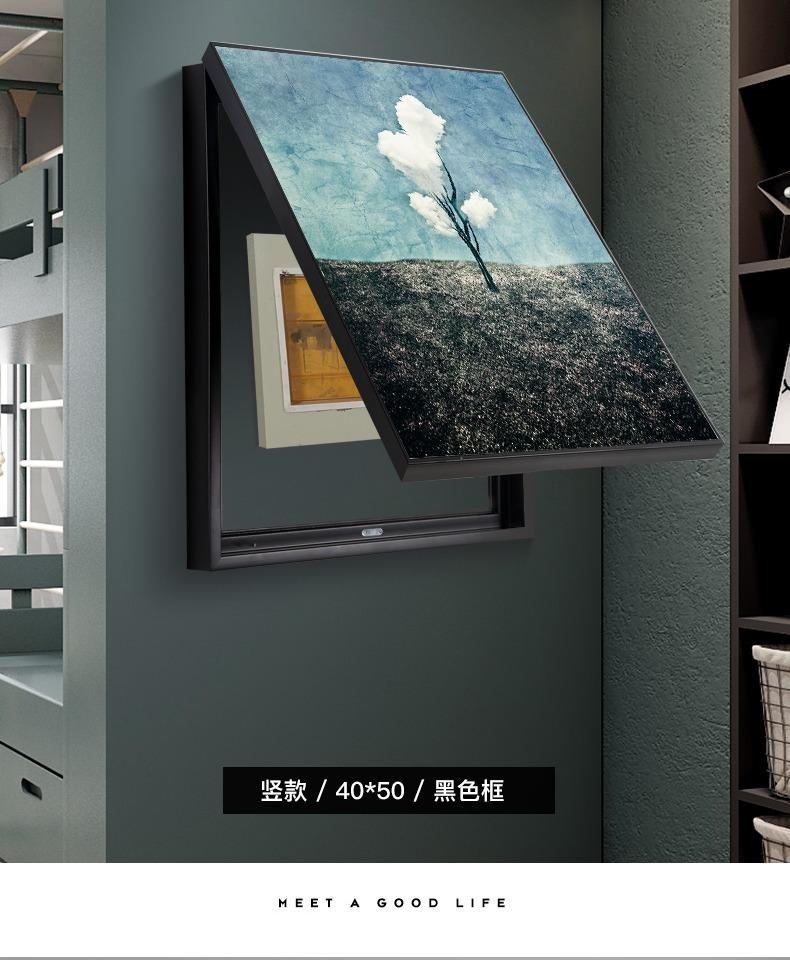 电表箱装饰画现代简约竖款配电箱电闸箱推拉画遮挡客厅强电箱挂画商品详情图