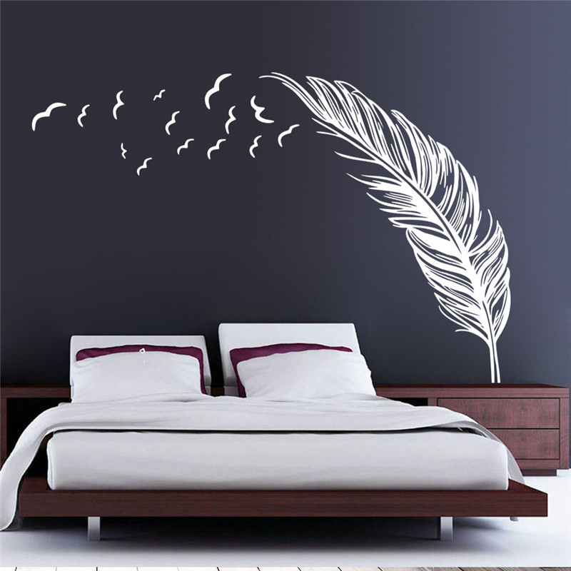 Removable vinyl decal wall birds flying feather decal diy - Stickers salle a manger ...