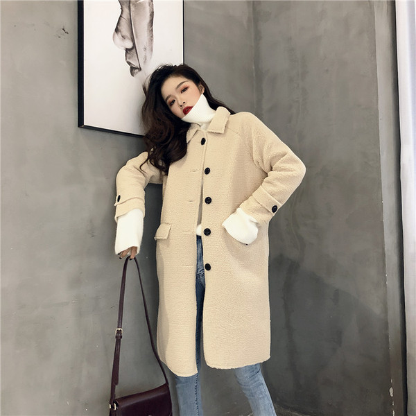 Real Shot Quality Check Retro Gentle Winter New Lazy Thick Single-Breasted Stand Collar Lamb Fur Coat