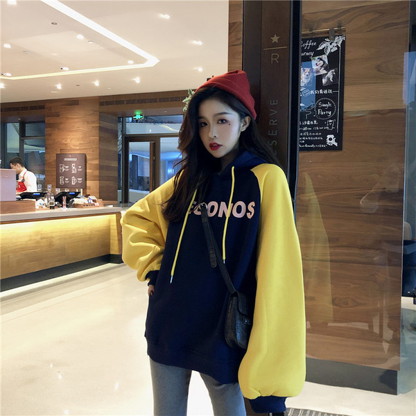 Real Shot Quality Inspection Hong Kong Style Oversize Wild Color Printing English Plus Velvet Thick Sweater Coat