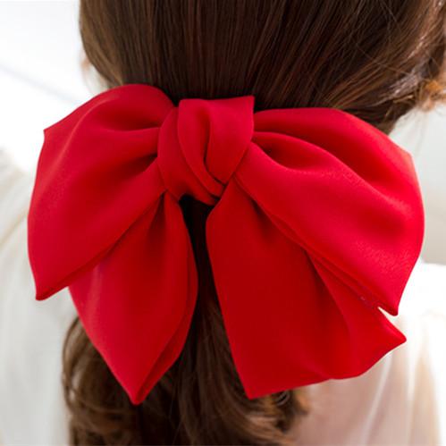 弹簧发卡发夹大红色蝴蝶结日韩韩国发饰雪纺夹马尾夹顶夹头饰