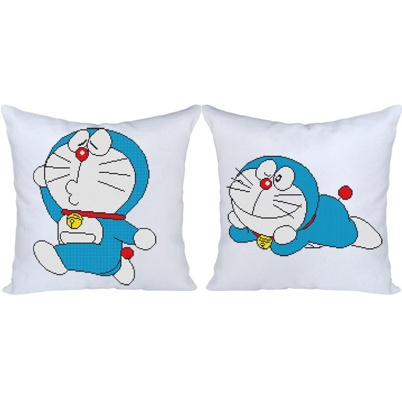 春天十字绣抱枕情侣一对小幅客厅卧室可爱卡通动漫靠垫汽车抱枕套